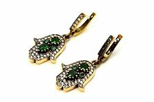 HMD Turkish Hurrem Sultan 925 Sterling Silver Emerald Hamsa Ladies Earrings USA