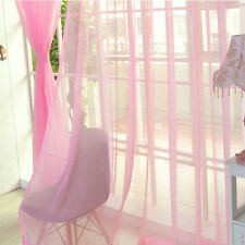 Plain Tulle Voile Tab Top Door Window Net Panel Curtain Sheer Valances Scarf Hot