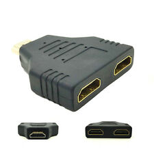 For HDTV HDMI Male To Dual HDMI Female 1 to 2 Way Splitter Adapter Connector