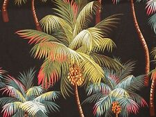 1/2 YARD 18x55 Tropical Hawaiian Barkcloth Upholstery FABRIC ~Palm Trees-Black~