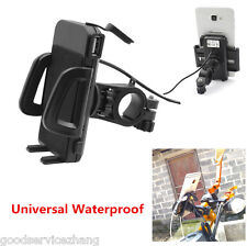 Cell Phone GPS Motorcycle MTB Bicycle Handlebar Bike Mount Holder + USB Charger