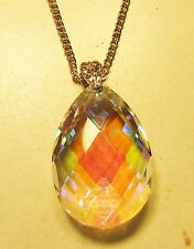 Vintage 70's Glass Crystal Rhinestone AB Bead Drop Pendant Necklace Clear