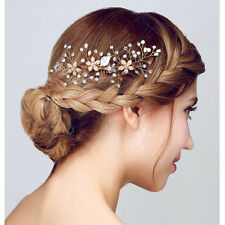 Bridal Gold Delicate Crystal Pearl Hair Jewelry Wedding Party Hair Comb Handmade