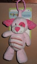 KELLYBABY KELLY TOY PINK PUPPY DOG CLIP ON PRAM TOY PLUSH RATTLE BABY