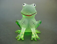 Glass FROG TOAD Smiley Face Happy Animal Frosted Glass Ornament Spotted Kermit