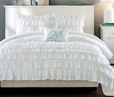 RUFFLE SHABBY WHITE 5pc Full Queen COMFORTER SET : TEEN GIRL PRINCESS LAYERED