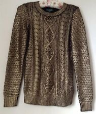 Authentic Ralph Lauren Ancient Gold Knitted Sweater Jumper Size XS NEW RRP £160