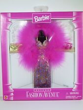 NIB BARBIE DOLL 1997 FASHION AVENUE DELUXE PINK FUR DRESS