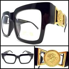 CLASSIC VINTAGE RETRO HIP Clear Lens GLASSES THICK BLACK FRAME W/ Gold Medallion