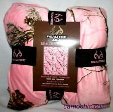 REALTREE AP PINK CAMO CAMOUFLAGE HEAVY WEIGHT MICRO MINK to SHERPA THROW BLANKET