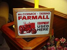 FARMALL EQUIPMENT CUSTOM SOLID CEDAR FRAMED RETRO METAL WEATHERED SIGN