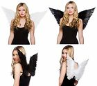 White or Black Feather Angel Fairy Halloween Christmas Fancy Dress Costume Wings