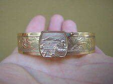 rARE ORNATE ANTIQUE VICTORIAN GOLD FILLED BRACELET WITH SCENE