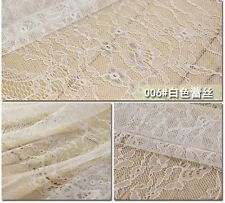 150cm Wide White Lace Fabric Wedding Dress Making Sewing Craft by the Meter