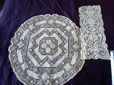 Vintage Lot Burato Filet lace Geometric Floral Italian Small Tablecloth  Round
