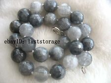 Amazing! quartz cloud gray round faceted necklace nature 14mm gray fashion gift