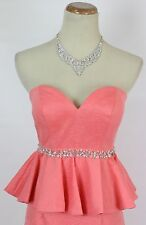 Terani Sequin $160 Prom Size 4 Short Gown Evening Dress Strapless Summer Coral
