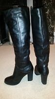 Schuh black leather boots knee high