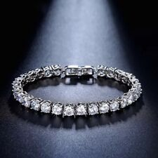 18K White Gold Tennis Bracelet made w Swarovski Crystal 28 ct. Stone Bridal 6.5""