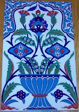 "9 7/8"" x 15 3/4"" Turkish Iznik Floral Vase Pattern Ceramic Tile Mural"