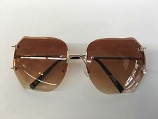 OVERSIZE CLASSIC Rimless VINTAGE RETRO Style Brown Lens SUNGLASS Gold Frame