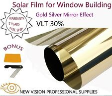 Film Tint Solar Gold Silver Mirror Effect for Window Building VLT 30% 50cmX6m