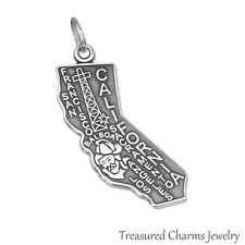 .925 Sterling Silver STATE OF CALIFORNIA CHARM San Francisco Los Angeles PENDANT