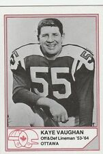 CFL HALL OF FAME KAYE VAUGHAN OTTAWA ROUGH RIDERS #B-12   LIMITED EDITION CARD