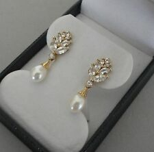 10K YELLOW GOLD TEARDROP PEARL DANGLE EARRINGS W/ CRYSTAL CLUSTERS - 3.7 GRAMS