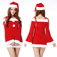 Lovely Women Santa Christmas Party Club Red Mini Dress Set Outfits + Xmas Hat