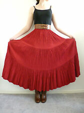 Double D Ranch Wear Tiered Skirt Broomstick Crinkle Maxi Western Size S Boho Red