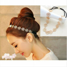 Lady's Fashion Metal Chain Jewelry Hollow Rose Flower Elastic Hair Band Headband