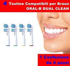 4 TESTINE RICAMBIO COMPATIBILI DUAL CLEAN ORAL B SPAZZOLINO ELETTRICO