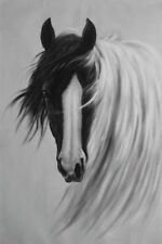 36x24 White Horse Black Head Long Breeds Oil Painting Naturalism Animal