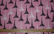 COTTON Fabric  Paris France Eiffel Tower in White & black on pink BEAUTIFUL  BTY