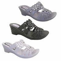Ladies Slip On Summer Wedge Sandals Womens Soft Shoes