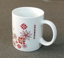 Starbucks Coffee Tea 12 Oz Cup Mug Christmas Holiday Poinsettia Snowflakes New