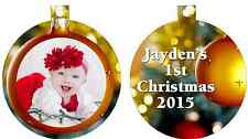Personalized Custom Christmas Ornament Bauble Baby's Photo Picture 1st Christmas