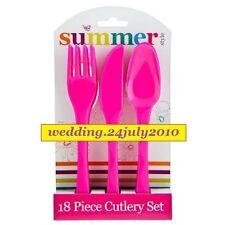 Rosa 18pc Fiesta Picnic Cubiertos de Plástico Reutilizable 6 x Cuchillo Tenedor Cuchara Pack Set