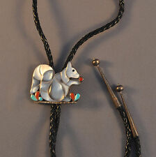 VINTAGE ZUNI INDIAN SILVER INLAY BOLO TIE - SQUIRREL - PORFILIO & ANN SHEYKA