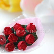 1/12 Scale Dolls House Miniature Red 9 Rose Flower Bouquet Room Decoration