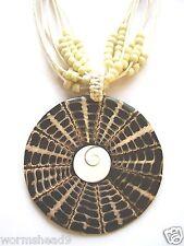 Patterned SHELL Swirl CIONDOLO & Multi-strand sementi CORDONE CORDA COLLANA Fair Trade