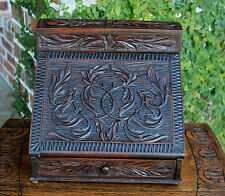Antique French Highly Carved Oak Desktop Secretary Letter Holder Box w Inkwells