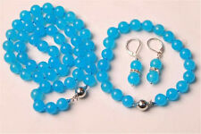 10MM Blue Topaz Chalcedony Round Beads Necklace & Bracelet & Earrng Set