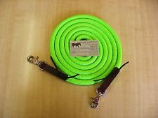 """10' x 1/2"""" Neon LIME Green Trail Training Yacht Rope Loop Reins Leathers n Snaps"""