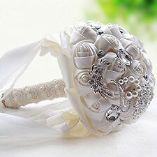 White Crystal Wedding Rhinestone Brooch Bride Bouquet Hand Holding Flowers NEW