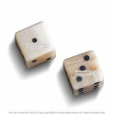 Genuine White Bone Gambling Handmade Roman Dice Inlaid Pips Casino Game Medieval