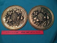 Vintage 2 Metal Wall Hanging Plates Grapes Charger Hollywood Regency Pair Decor