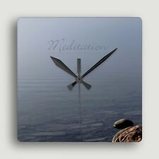 Meditation ~ SQUARE WALL CLOCK ~ Contemplative Seascape Design / Functional Art