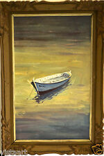 "Oil Painting on Canvas in Vintage Style 20x29"" Frame -Canoe in Still Water"
